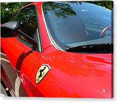 Acrylic Print featuring the photograph Red Ferrari Right Side by Jeff Lowe