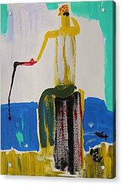 Red Fishing Pole Acrylic Print by Mary Carol Williams