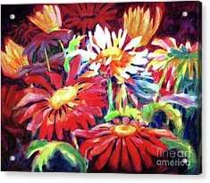 Red Floral Mishmash Acrylic Print by Kathy Braud