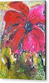Red Flower - Abstract Painting Acrylic Print by Ismeta Gruenwald