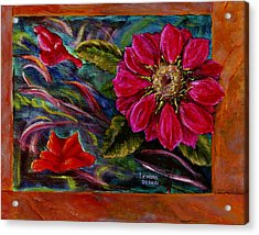 Acrylic Print featuring the painting Red Flower In Rust And Green by Lenora  De Lude