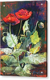 Red Flowers Acrylic Print by Beverly Amundson