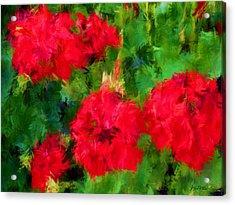 Red Flowers Impressionism Acrylic Print