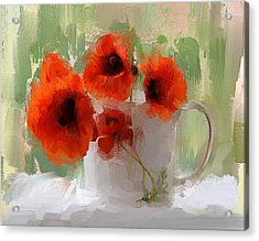 Red Flowers In A Cup Acrylic Print