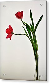 Red Flowers In Glass Vase Acrylic Print