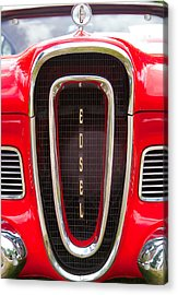 Acrylic Print featuring the photograph Red Ford Edsel Grill Detail by Mick Flynn