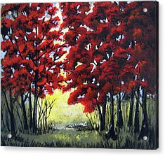 Acrylic Print featuring the painting Red Forest by Suzanne Theis