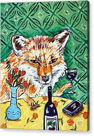 Red Fox At The Wine Bar Acrylic Print by Jay  Schmetz