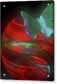 Red Fractal Bowl With Butterfly Acrylic Print
