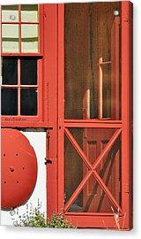 Red Framed Window And Door Acrylic Print
