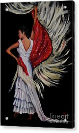 Red Fringed Scarf Acrylic Print