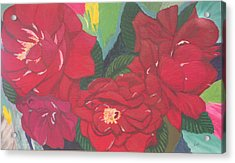 Red Garden Roses Acrylic Print by Hilda and Jose Garrancho