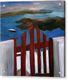 Acrylic Print featuring the painting Red Gate To Atlantis by Michael Helfen