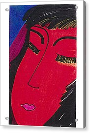 Acrylic Print featuring the drawing Red Geisha by Don Koester