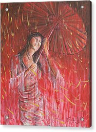 Red Geisha Rain Storm Acrylic Print by Nik Helbig