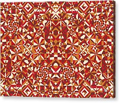 Red Geometrics Acrylic Print by Sumit Mehndiratta