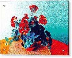 Red Geraniums Still Life Acrylic Print