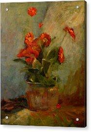 sold Red Gerberas Acrylic Print by Irena  Jablonski