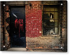 Red Graffiti On Door Acrylic Print by Amy Cicconi
