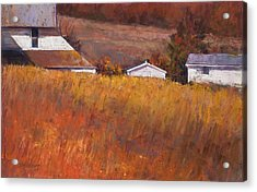 Red Grass Acrylic Print by Beverly Amundson