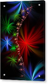 Red Green And Blue Fractal Stars Acrylic Print by Matthias Hauser