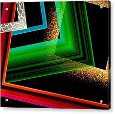 Red Green And Brown Abstract Art Acrylic Print by Mario Perez