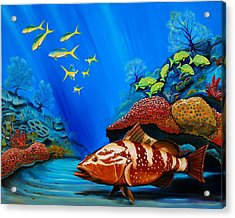Acrylic Print featuring the painting Red Grouper by Steve Ozment