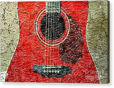 Red Guitar Center - Digital Painting - Music Acrylic Print by Barbara Griffin