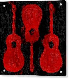 Red Guitars Acrylic Print by David G Paul