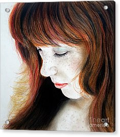 Red Hair And Freckled Beauty II Acrylic Print by Jim Fitzpatrick