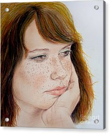 Red Hair And Freckled IIi Acrylic Print by Jim Fitzpatrick