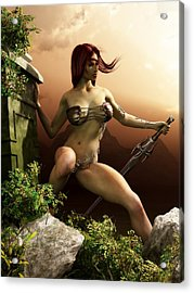 Red Haired Barbarian Woman Acrylic Print