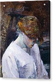 Red-haired Woman In White Camisole Acrylic Print by Henri de Toulouse Lautrec