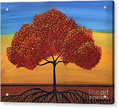 Red Happy Tree Acrylic Print