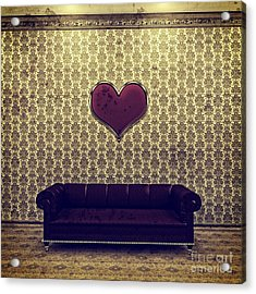 Red Heart And Purple Couch In A Gold Victorian Room Acrylic Print by Beverly Claire Kaiya