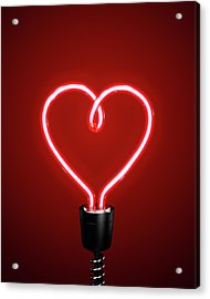 Red Heart Shaped Energy Saving Lightbulb Acrylic Print by Atomic Imagery