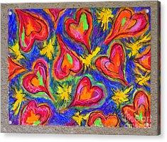 Red Hearts Acrylic Print by Kelly Athena