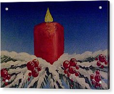 Acrylic Print featuring the painting Red Holiday Candle by Darren Robinson
