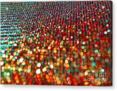 Red Hot Bokeh Bling Acrylic Print by Debbie Portwood