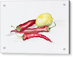 Red Hot Chili Peppers And Lemone Acrylic Print by Irina Gromovaja