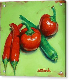 Acrylic Print featuring the painting Red Hot Chilli Peppers by Margaret Stockdale