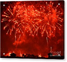 Red Hot Fireworks Acrylic Print by Darla Wood