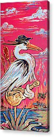 Red Hot Heron Blues Acrylic Print by Robert Ponzio