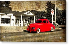 Red Hot Rod Cruising Route 66 Acrylic Print by Thomas Woolworth