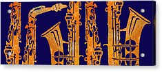 Red Hot Sax Keys Acrylic Print by Jenny Armitage