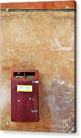 Red Italian  Mailbox On Ochre Wall Acrylic Print by Sami Sarkis