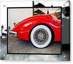 Red Jaguar Xk 140 Acrylic Print by SM Shahrokni