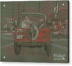 Acrylic Print featuring the drawing Red Jeep by Donald Maier