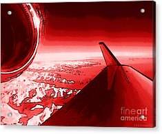 Acrylic Print featuring the photograph Red Jet Pop Art Plane by R Muirhead Art