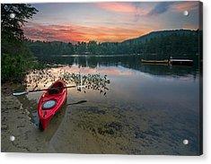 Red Kayak Acrylic Print by Darylann Leonard Photography